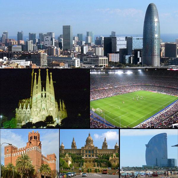 Geschäftsbezirk von Barcelona, Sagrada Família, Camp Nou Stadion, Castle of the Three Dragons, Palau Nacional, Barcelona Strand