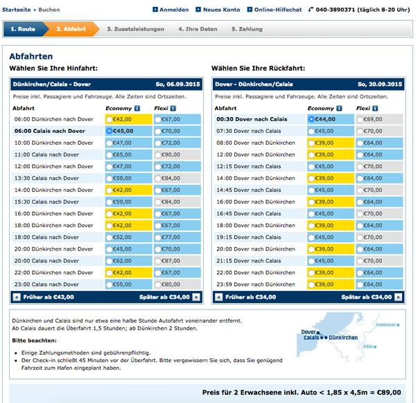 Preistabelle von DFDS Seaways