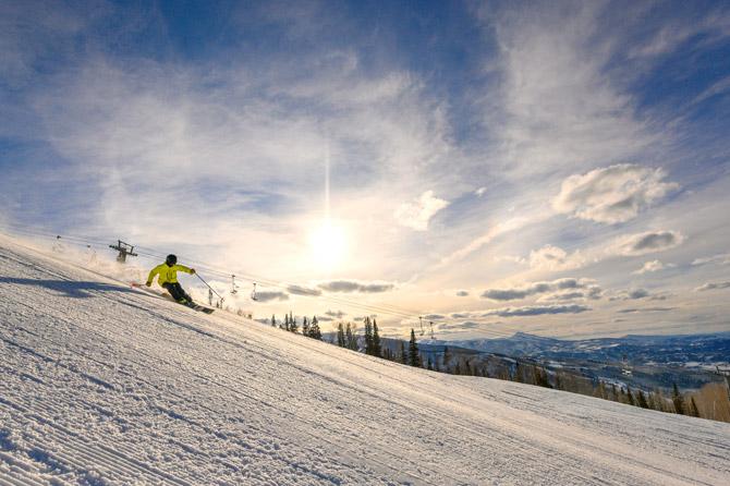 Aspen Snowmass Abfahrt Sonnenuntergang