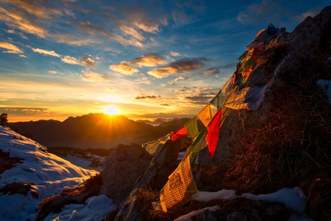 Tibet Sonnenuntergang