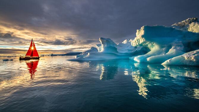 Groenland Sonnenuntergang