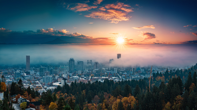 Ausblick auf Portland Downtown
