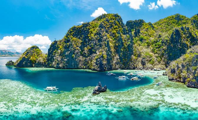 Blick auf das Limestone Cliff von Palawan