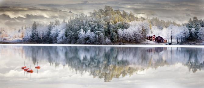Schweden See mit Haus