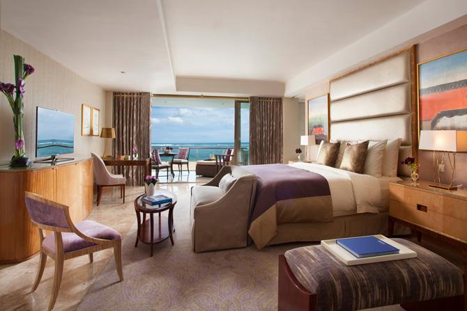 The Mulia The Baron Suite Bedroom purple