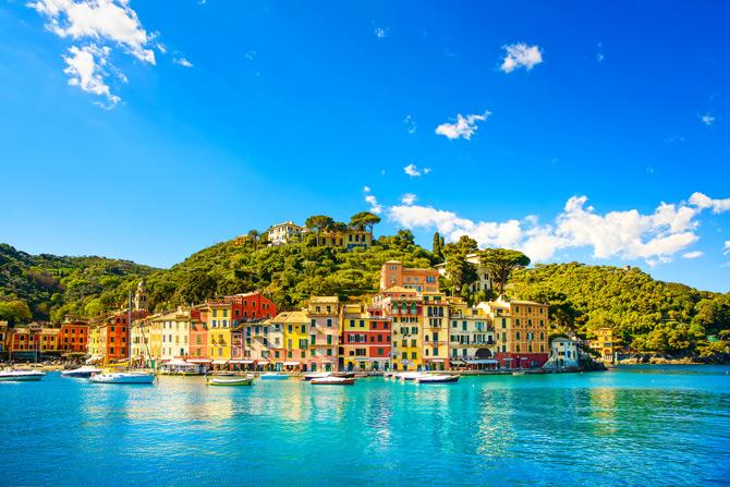Portofino Panorama vom Boot aus