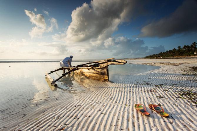 Sansibar Fischer beim Sonnenaufgang