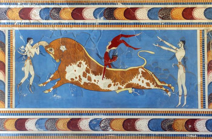 Stierüberspringen Fresko